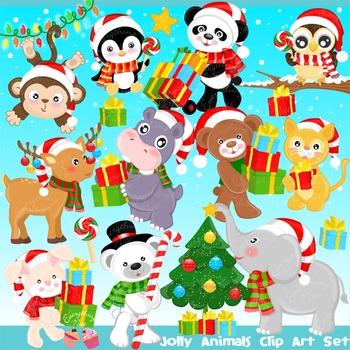 Jolly Christmas Animals Clipart Set.