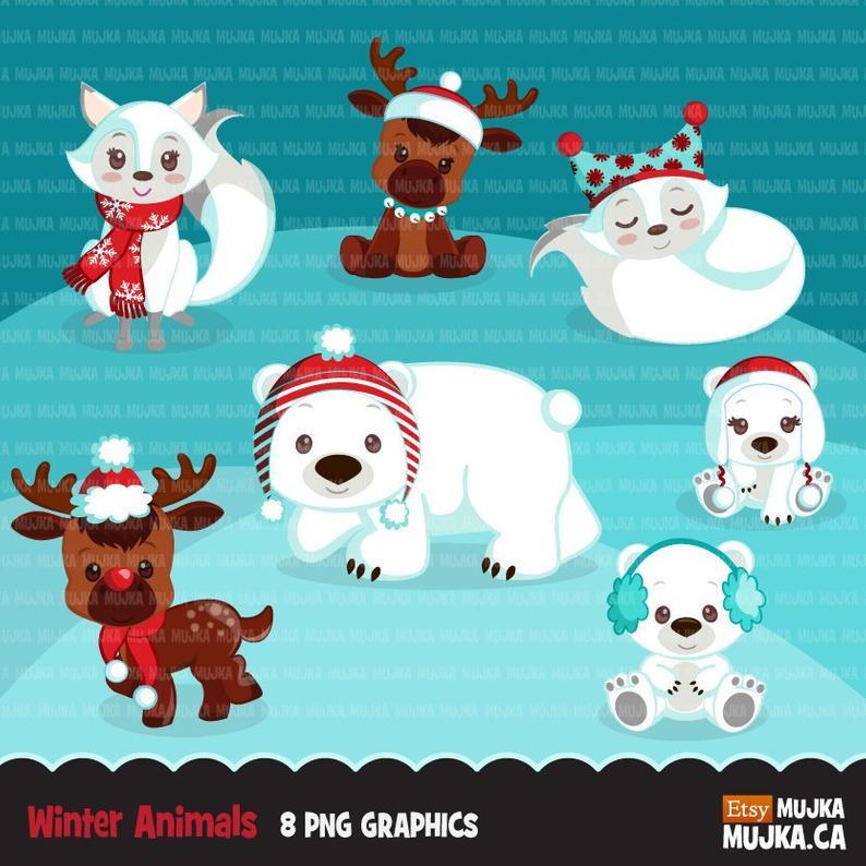 Christmas animals clipart. Cute winter animals, polar bear, cub, arctic  fox, reindeer, moose Baby shower, birthday graphics, noel animals.