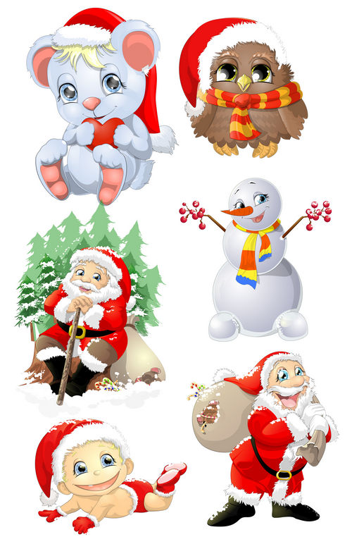 Santa, snowman, Christmas animals, PSD Clipart with transparent.