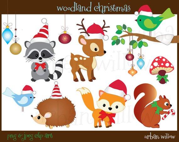 Christmas Animals Clipart, Cute animals Clipart, Digital Graphics.
