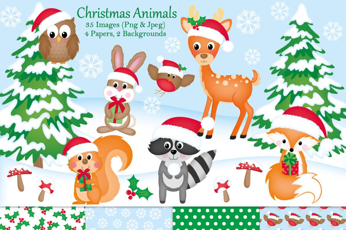 Christmas clipart,Christmas graphics & illustrations,Animals.