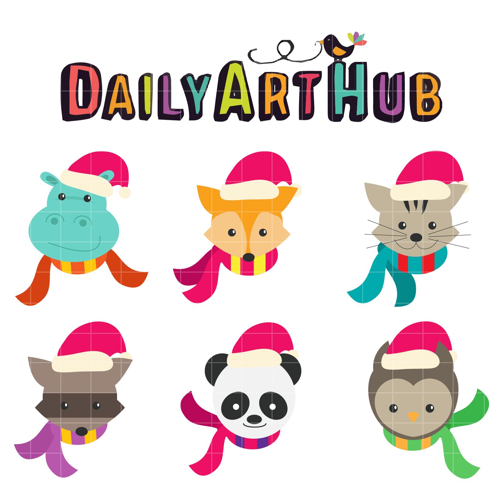 Christmas Animals Clip Art Set.