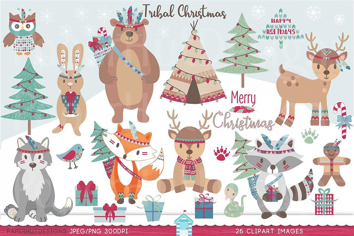 Tribal Christmas Woodland Animals Clipart.
