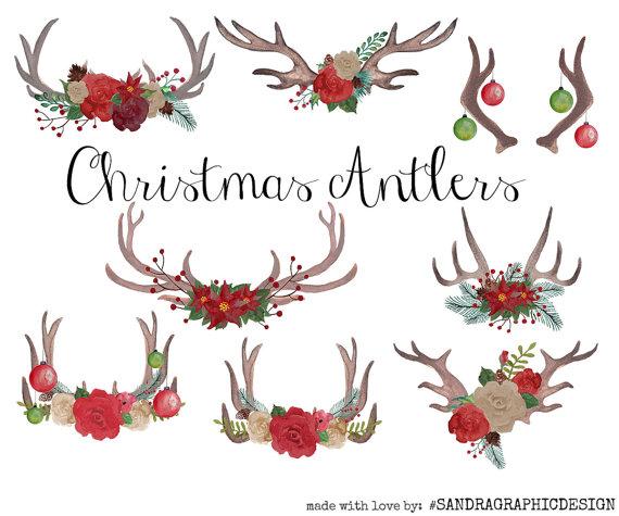 Christmas antlers clip art watercolor clip art watercolor.