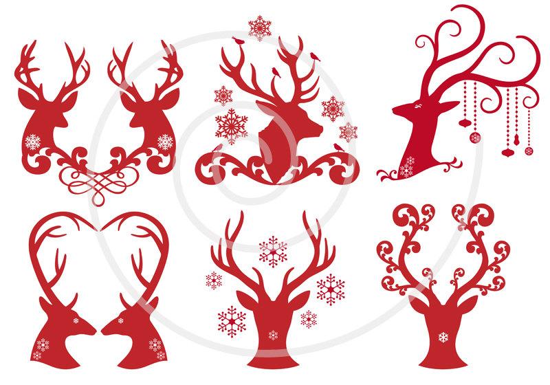 Christmas deer, reindeer, antlers, digital clip art, Christmas.