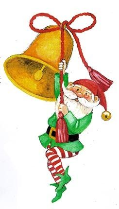 CHRISTMAS GNOME AND BELL CLIP ART #clipart.