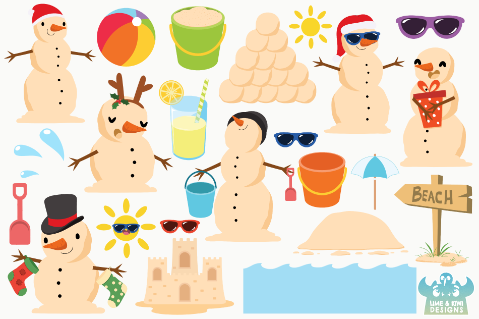 Beach Christmas Snowmen Clipart, Instant Download Vector Art.