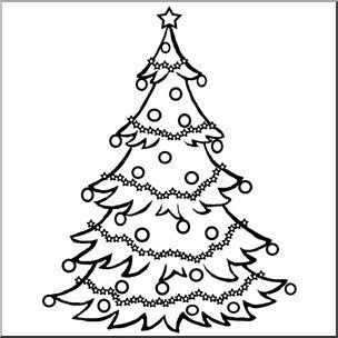Clip Art: Christmas Tree B&W.