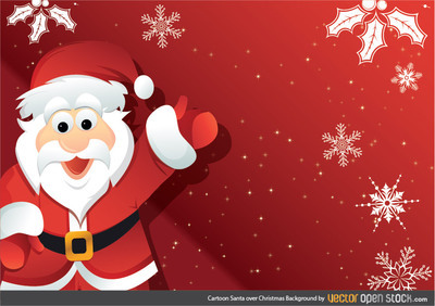 Cartoon Santa over Christmas Background, Cliparts.