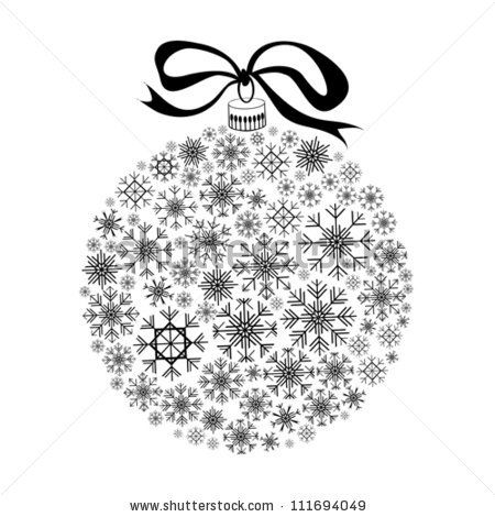 Isolated Black Christmas Ball Silhouette on White Background.
