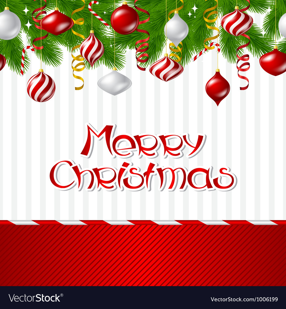 Merry Christmas background with glossy balls.