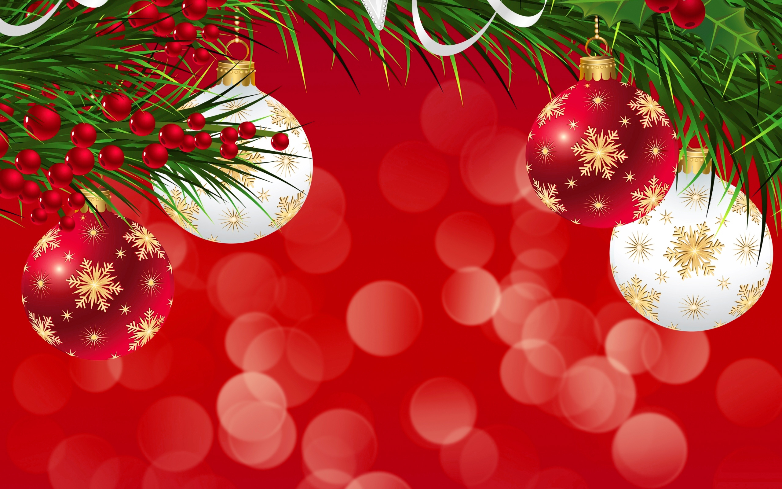 Red Christmas Background with Ornaments.
