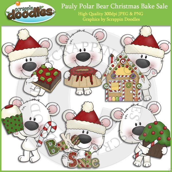 Pauly Polar Bear Christmas Bake Sale Clip Art Download.
