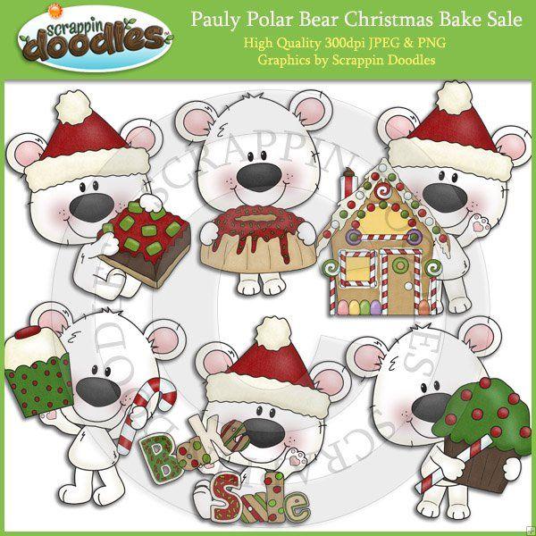 Pauly Polar Bear Christmas Bake Sale Clip Art Download.