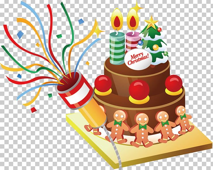 Cartoon Christmas Cake Material PNG, Clipart, Baked Goods.