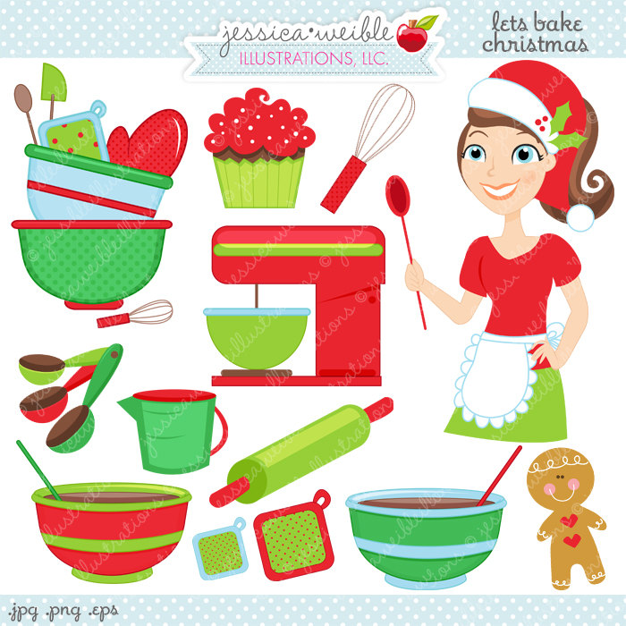 Lets Bake Christmas Cute Digital Clipart by JWIllustrations.