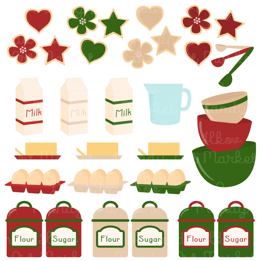 Professional Christmas Baking Clip Art Set With 64 Designs.