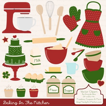 In The Kitchen Baking Clipart & Vectors in Christmas.