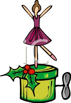 Royalty Free Clip Art Image: Christmas Ballerina Music Box.