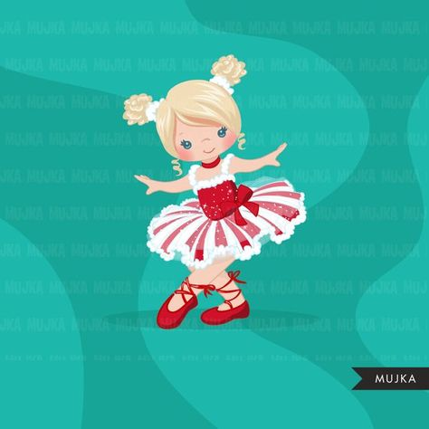 Christmas Ballerina clipart, ballet characters, black.