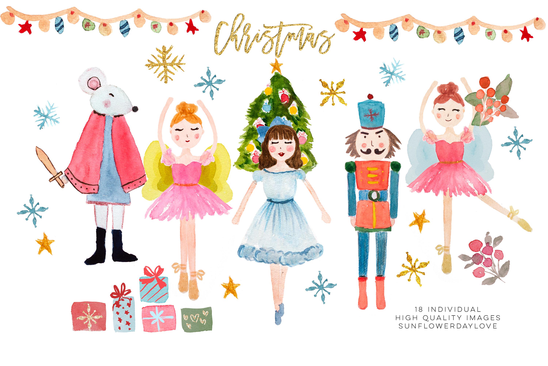 Nutcracker Clip Art, Christmas ballet illustration.