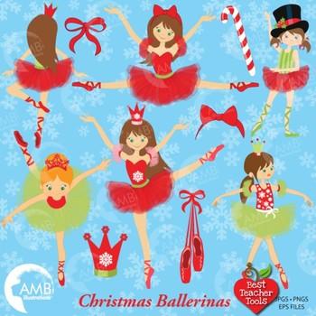 Christmas Ballerina Clipart, Christmas Fairies, {Best Teacher Tools},  AMB.