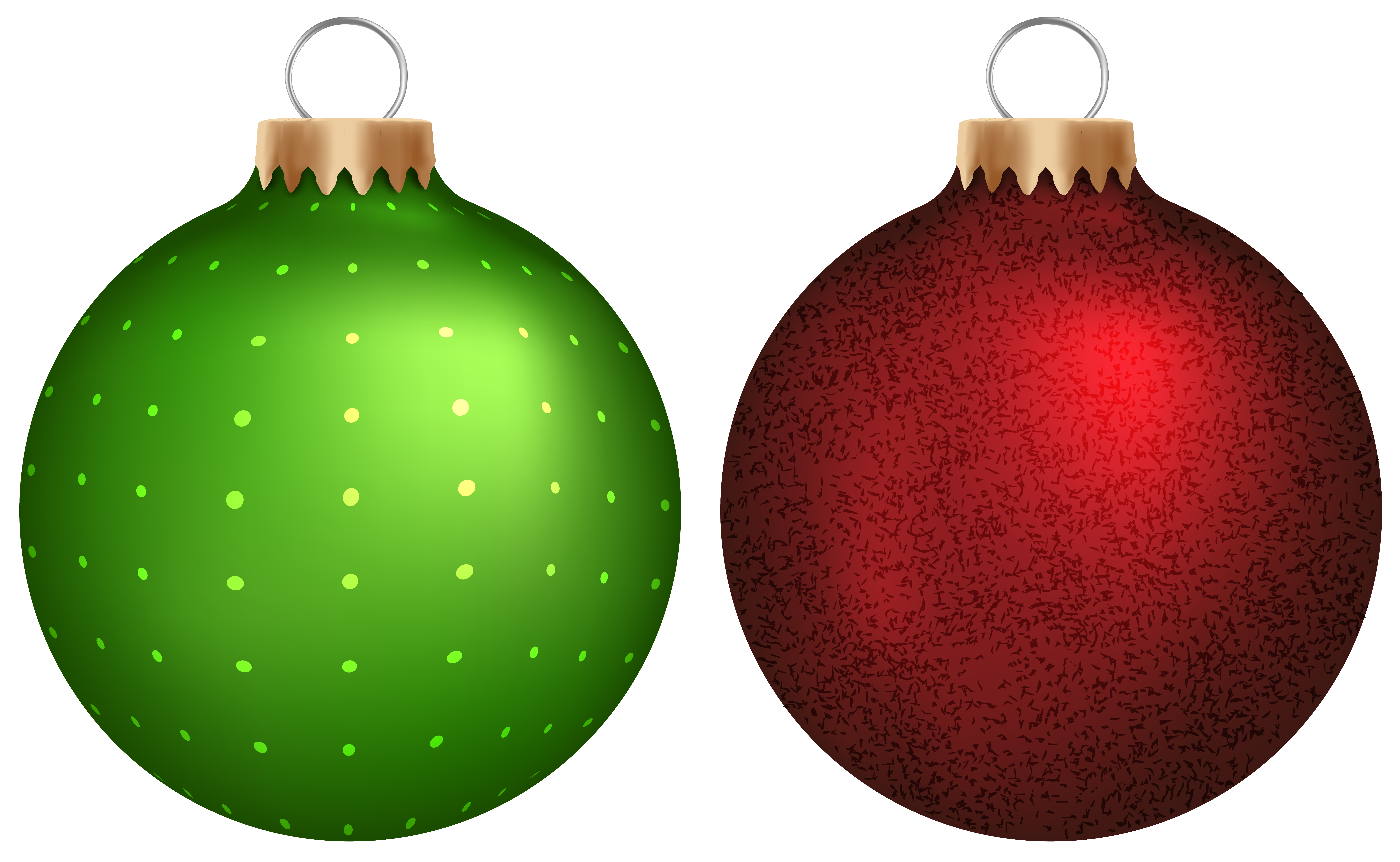 Green and Red Christmas Balls PNG Clip Art.