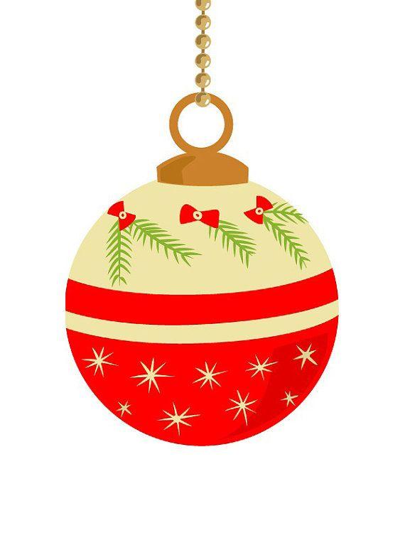 10 vintage Christmas ornament clip art, pastel color, retro.