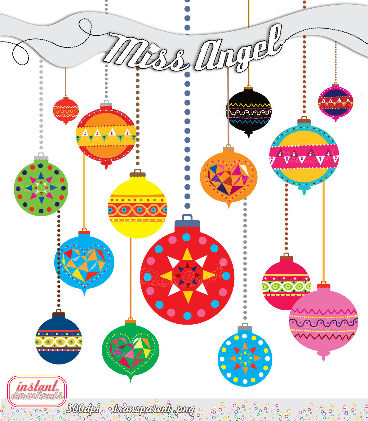 Christmas Balls CLIP ART Geometric Decor by MissAngelClipArt.