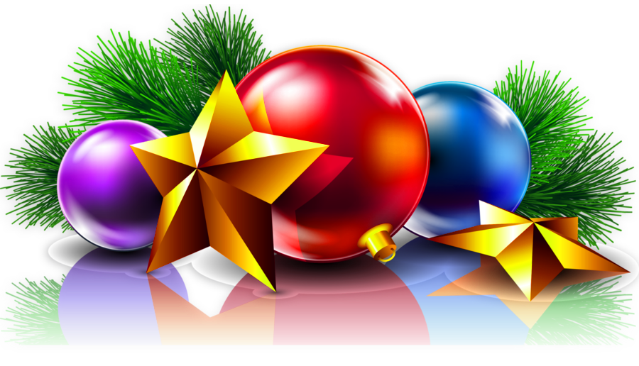 Transparent Christmas Balls and Stars Clipart Picture.