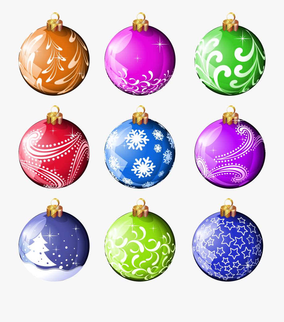 Printable Merry Christmas Balls Christmas Ornament Clipart.