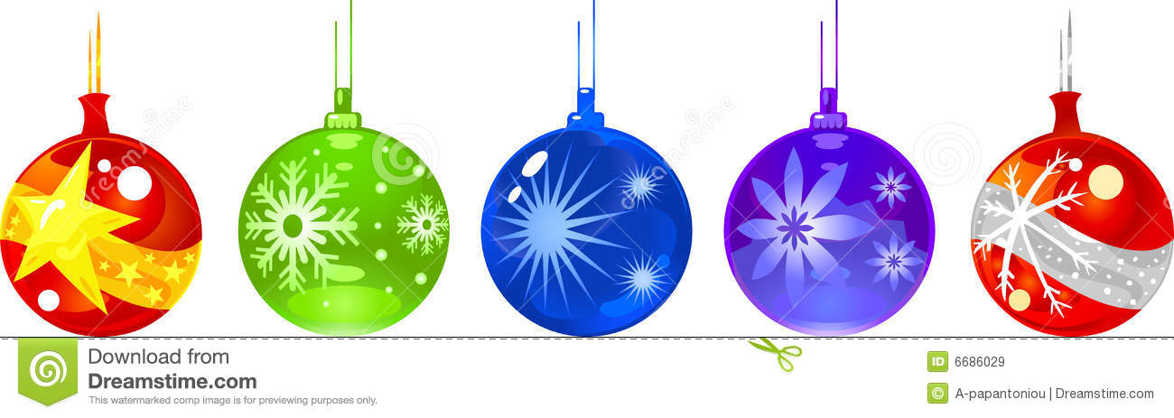Christmas Ball Ornaments Clipart.