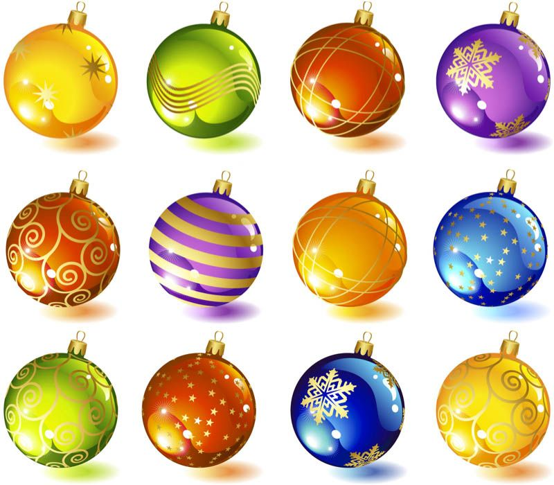 Christmas tree glass ball ornaments #vector.