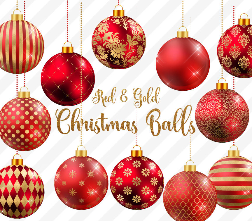 Red and Gold Christmas Balls Clipart.
