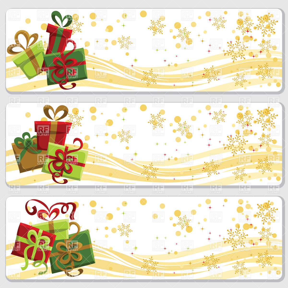 Christmas banners with cartoon gift boxes and snowflakes Vector.