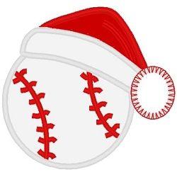 Baseball Santa Hat Applique.