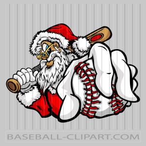 Santa Baseball Cartoon Image. Easy to Edit Vector Format..