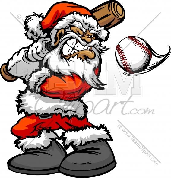 Baseball or Softball Christmas Holiday Santa Claus with.