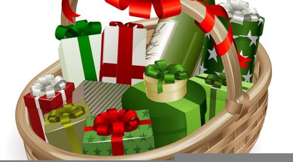 Free Christmas Food Basket Clipart.