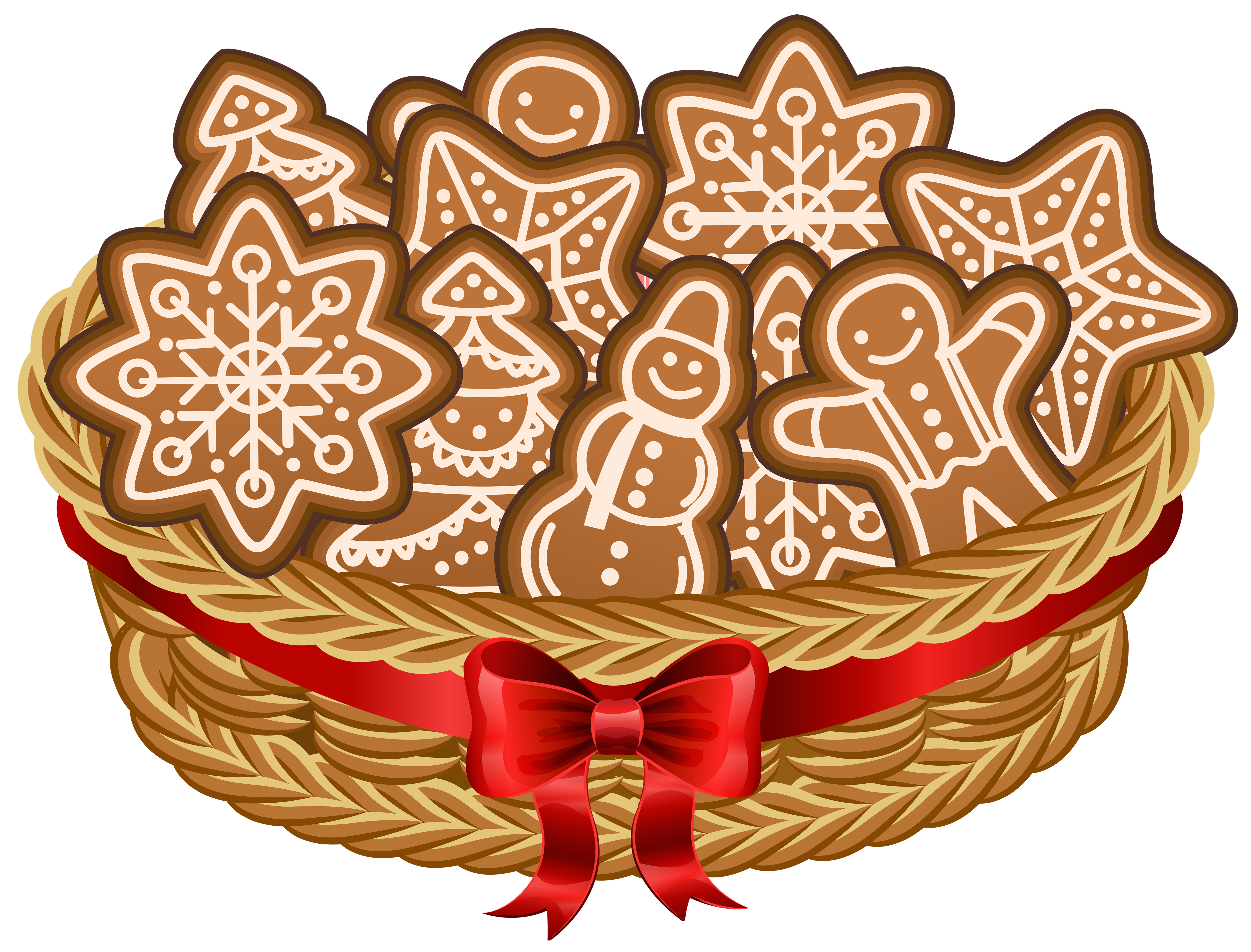 Christmas Basket with Gingerbread Cookies PNG Clip Art Image.
