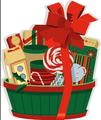Christmas clip art gift basket.