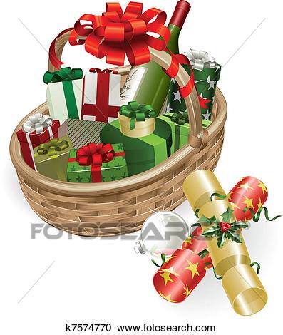 Christmas basket illustration Clipart.