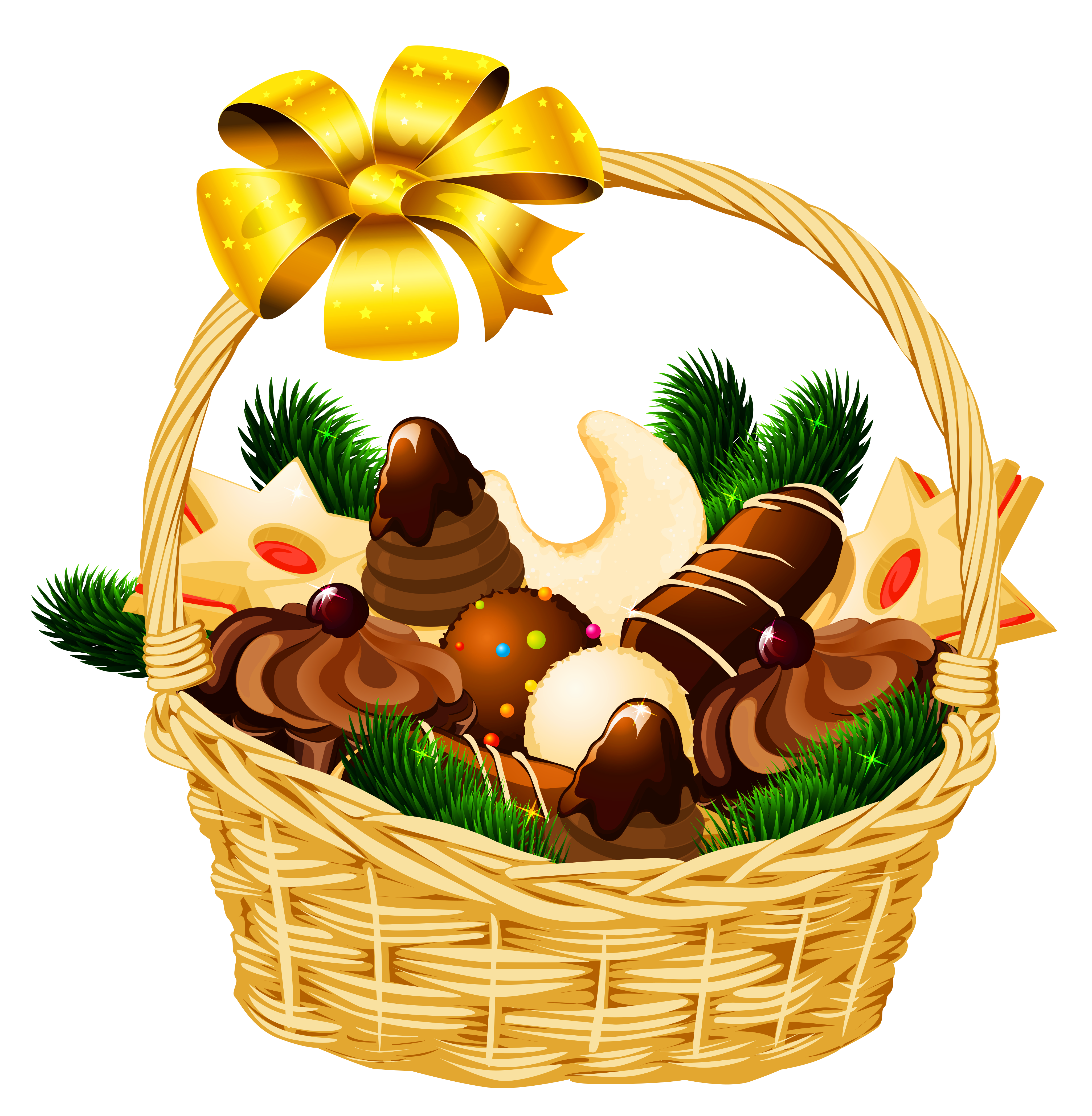 Holiday Christmas Basket PNG Picture.