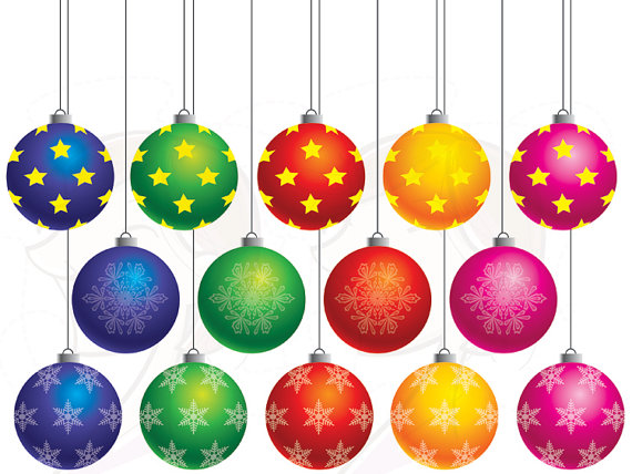 Items similar to Christmas Baubles Ornament Clipart Xmas Baubles.