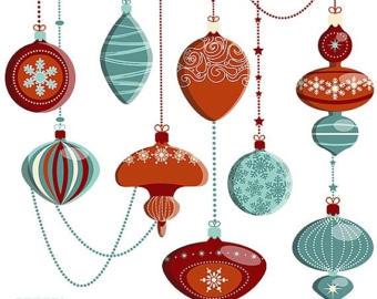 Items similar to Christmas Ornaments clipart, Decorations, Xmas.