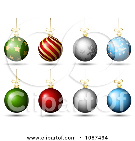 Clipart 3d Colorful Christmas Baubles With Designs And Plain.