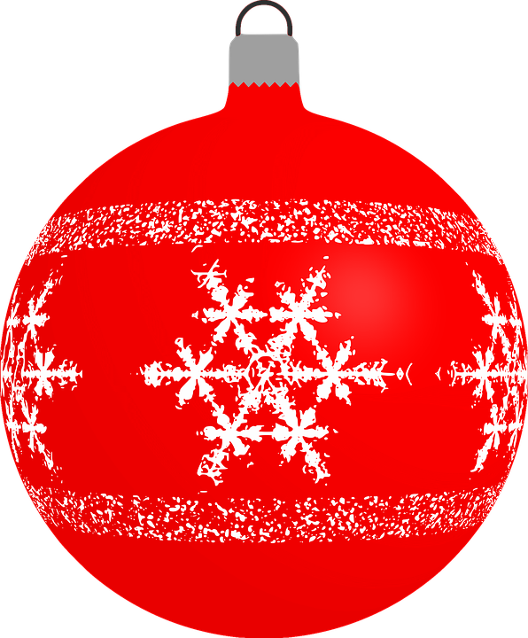Red Snowflake Cliparts Christmas Bauble Clipart Vector.