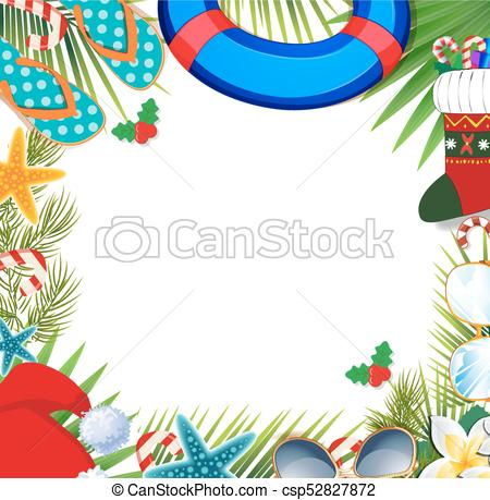 Merry christmas and happy new year border on a warm climate design  background..