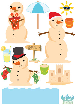 Beach Christmas Snowmen Clipart, Instant Download Vector Art, Commercial Use.