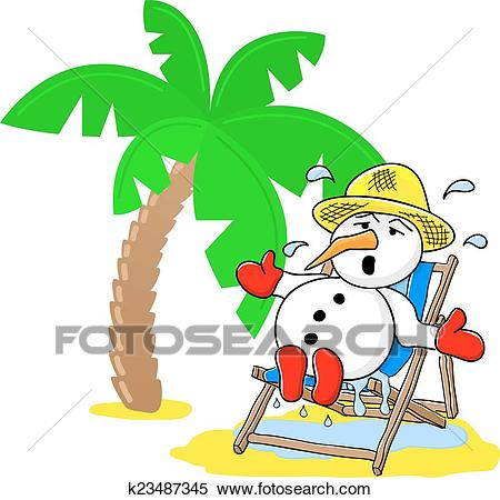Snowman at christmas on vacation at the beach Clipart.